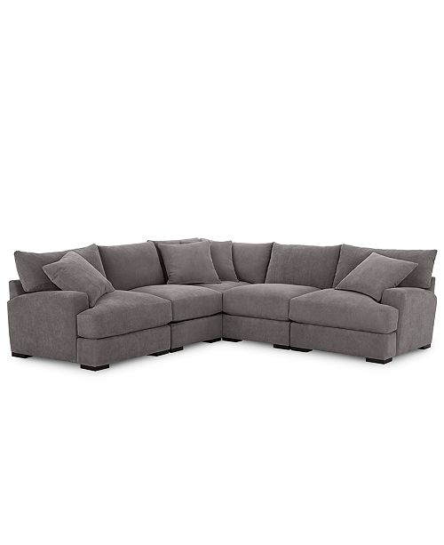 Furniture Rhyder 5-Pc. Fabric Sectional Sofa with Armless Chair .