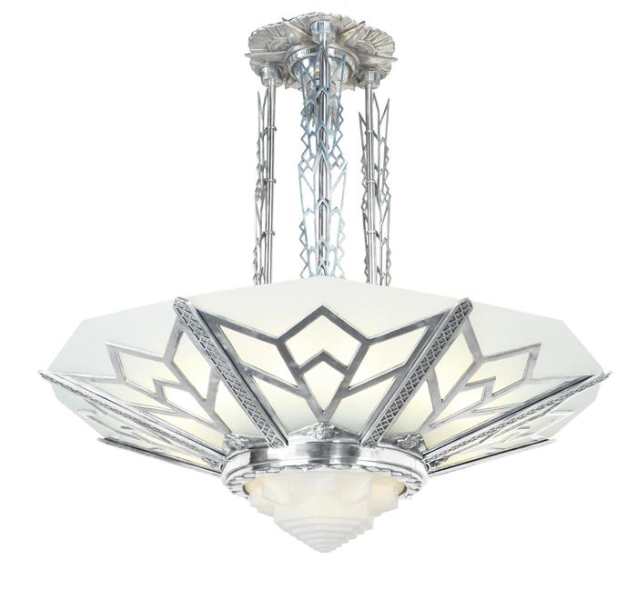 Vintage Hardware & Lighting - Large Art Deco Chandelier Manhattan .