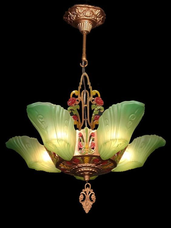 ANTIQUE ART DECO GREEN GLASS, 5 SLIP SHADE CHANDELIER LIGHTS LAMPS .