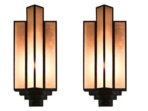 PAIR OF LARGE ART DECO SCONCES | Art deco lighting, Art deco lamps .