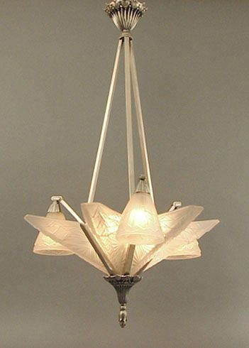 French Art Deco Chandelier (With images) | Art deco chandelier .