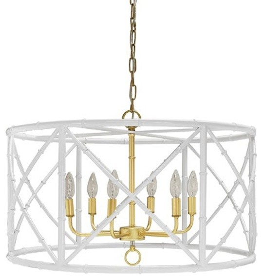 Worlds Away, Zia Bamboo Chandelier, White With Gold Cluster .