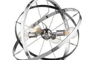 Golden Lighting Atom 4-Light Chandelier in Chrome-7936-4 CH-BS-CH .