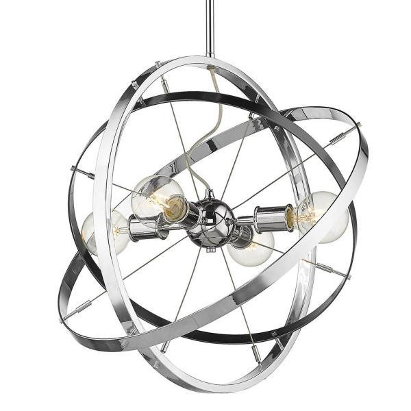 Golden Lighting Atom 4-Light Chandelier in Chrome-7936-4 CH-BS-CH .
