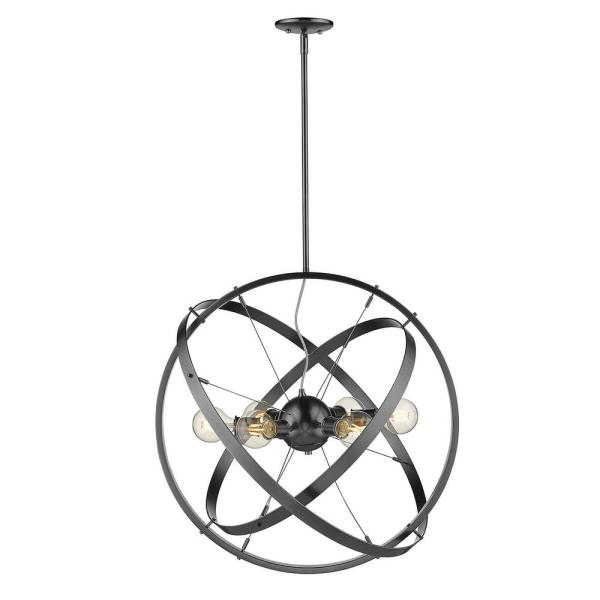 Golden Lighting Atom 6-Light Chandelier in Brushed Steel-7936-6 BS .