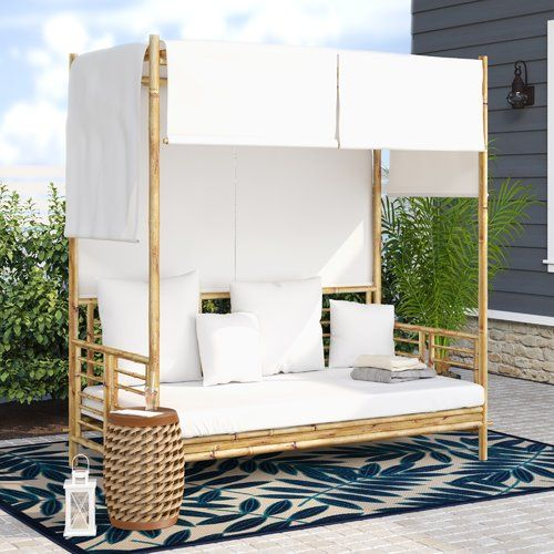 Aubrie Patio Daybed with Cushions | Patio daybed, Daybed canopy .