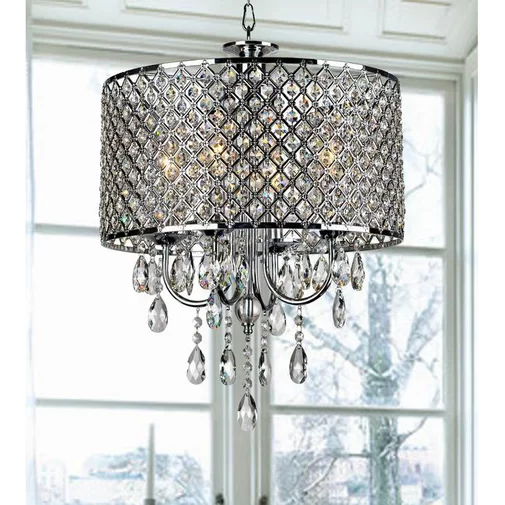 Aurore 4 - Light Crystal Chandelier with Wrought Iron Accents .