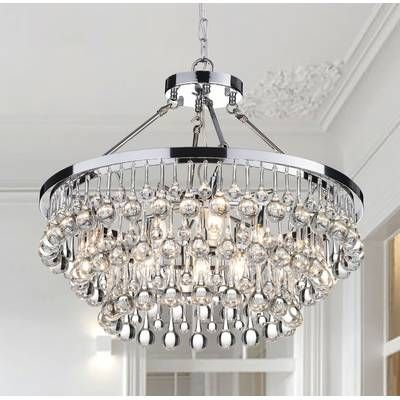 Aurore 4 - Light Crystal Chandelier with Wrought Iron Accents in .