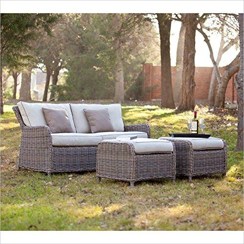 Southern Enterprise 3-Pc Avadi Outdoor Sofa And Ottoman S