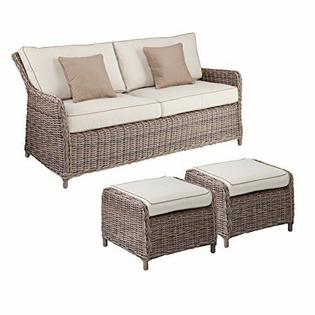 Southern Enterprise Avadi Outdoor Seater Sofa & Ottoman - Hand .