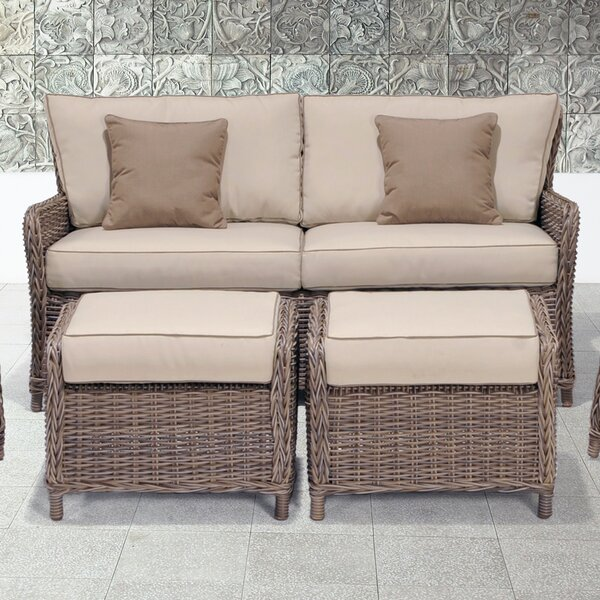 Wildon Home® Avadi Outdoor Sofa & Ottomans 3 Piece Set & Reviews .