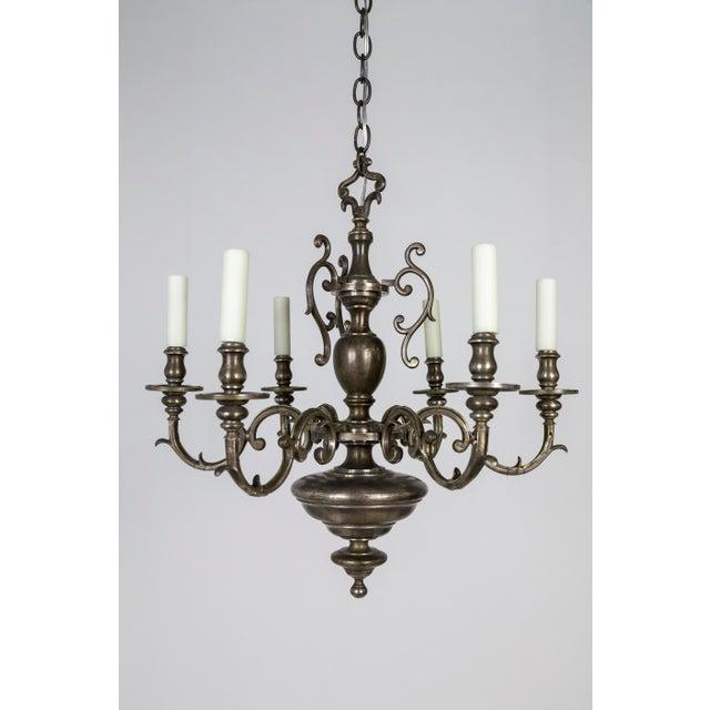 Antique Silvered Solid Bronze Dutch Baroque Chandelier   Chairi