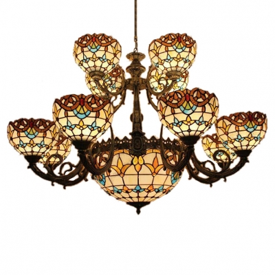 2/3-Tier Tiffany Baroque Chandelier with Tulip Pattern Glass .