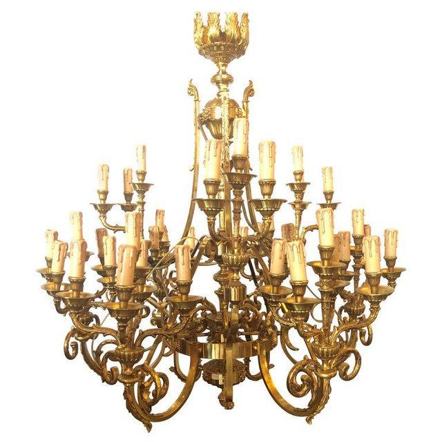 Monumental Bronze Thirty-Nine-Light Baroque Chandelier   Chairi