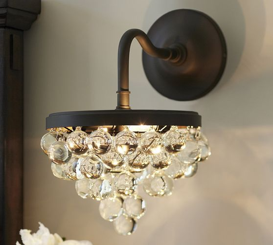 Callia Crystal Sconce | Crystal sconce, Wall sconces living room .