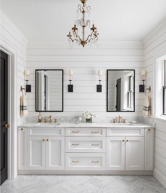 Bathroom Light Fixtures | Shiplap bathroom wall, Shiplap bathro