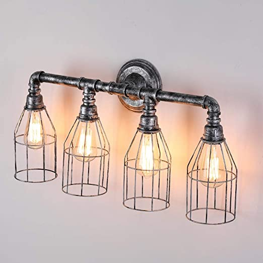 Amazon.com: Decomust Industrial Iron Water Pipe Wall Light Fixture .