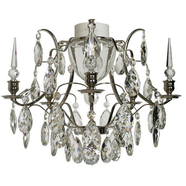 Crystal Shaped Almonds & Spears Chrome Bathroom Chandelier | Chairi