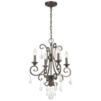 Hampton Bay 4-Light Oil Rubbed Bronze Crystal Small Chandelier .