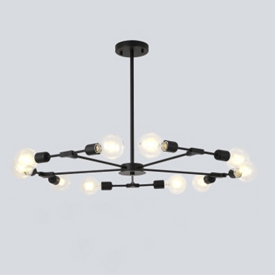 Industrial 10-Light Chandelier 37.8''W in Bare Bulb Style, Black .