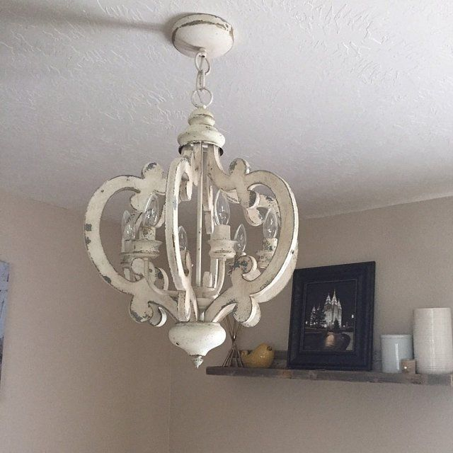 Shabby Chic Distressed 6 Light Chandelier | Chic lighting .
