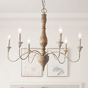 LNC French Country Chandeliers Wood 6 Lights Rust Arms for Dining .
