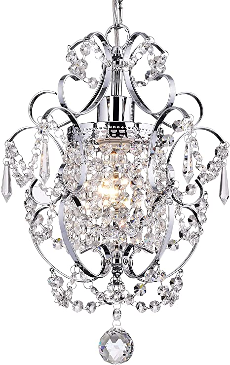 PAPAYA Crystal Mini Chandelier Lighting 1 Light Chrome Chandeliers .