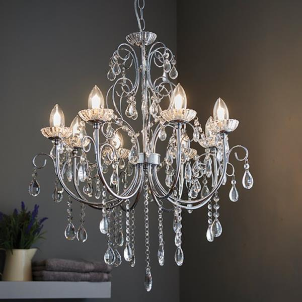 8 light Bathroom Pendant IP44 18W Premium Crystal Light Chandelier .