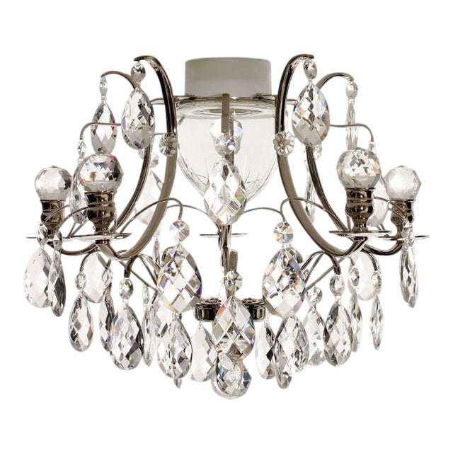 Nickel Plated Bathroom Chandelier With Crystal Shapes Almonds and .