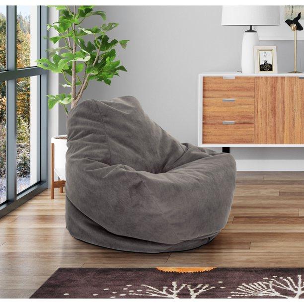 Mainstays Soft-Sided Microfiber Bean Bag Lounger Chair, Multiple .