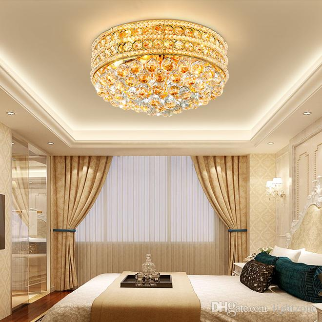 Modern Crystal Round Ceiling Chandelier Lights Gold Luxurious .