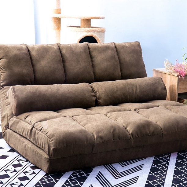 Floor Sofa Bed, Foldable Double Chaise Lounge Sofa Chair with Two .