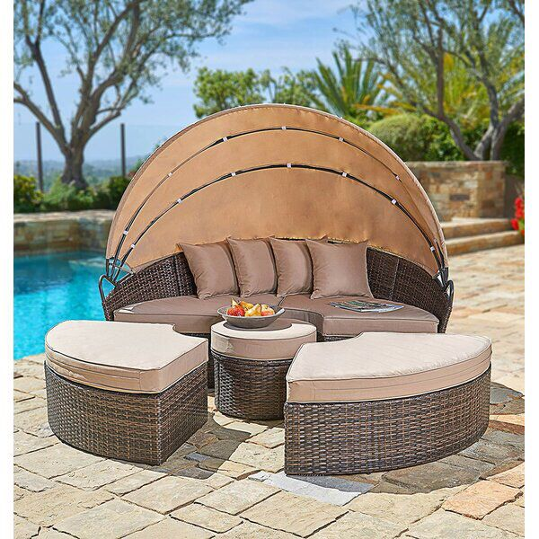 Behling Canopy Patio Daybed with Cushions in 2020 | Outdoor daybed .