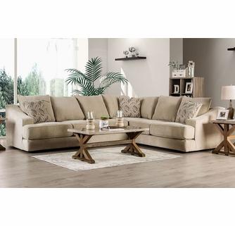 Senda 2-Pc Beige Chenille Sectional Sofa by Furniture of Ameri