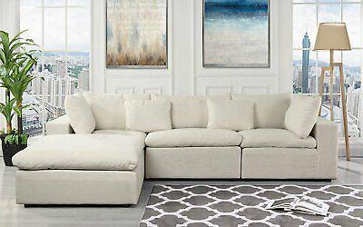 Classic Large Beige Fabric Sectional Sofa, L Sha