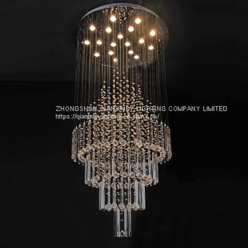 Made in China Big Crystal Chandelier LED Pendant Lamp Used Hotel .