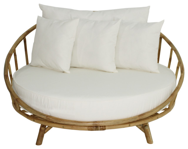 Bamboo Large Round Accent Sofa Chair With Cushion - Asian .