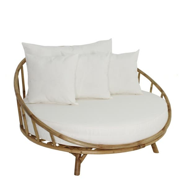 Shop Bamboo Large Round Accent Sofa Chair Natural Color With White .