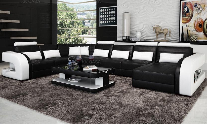 Design Home Modern Big Sofa with LED Sofa Furniture Chinese .