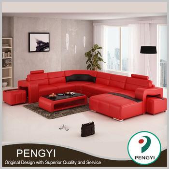 Original design big U shape modern leather couch sofa PY-V016A .