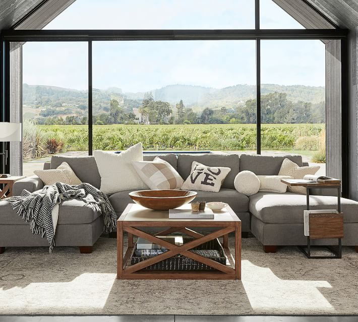 Big Sur Square Arm Upholstered U-Shaped Double Chaise Sectional .