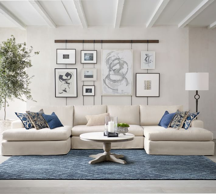 Big Sur Square Arm Slipcovered U-Shaped Double Chaise Sectional .