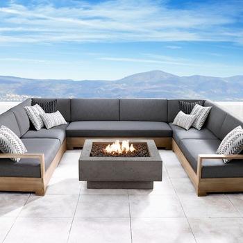 hotel club project big size U shape Sectional teak wooden sofa .