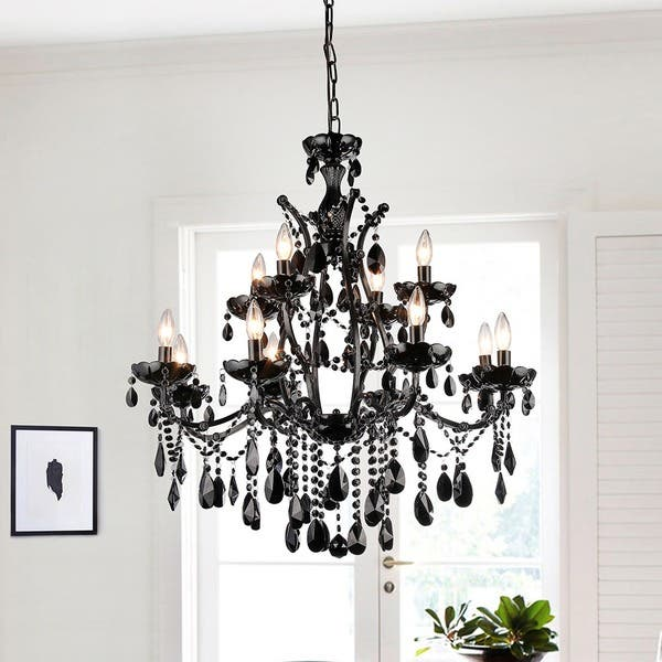 Shop Russhelle 12-light Black Chandelier - Overstock - 93625