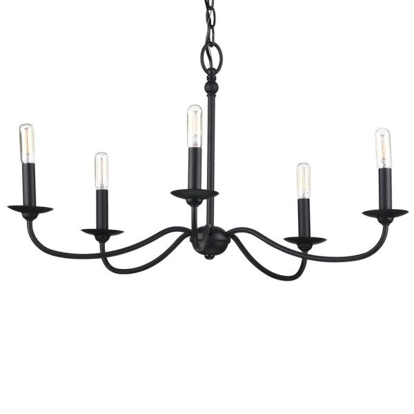 Progress Lighting Pacolet 5-Light Textured Black Chandelier .
