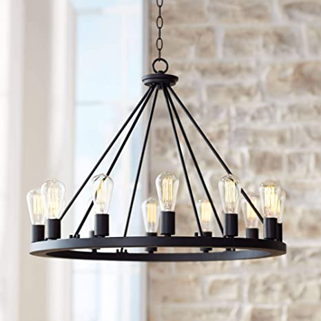 "Lacey Black Wagon Wheel Chandelier 28"" Wide Modern Industrial ."