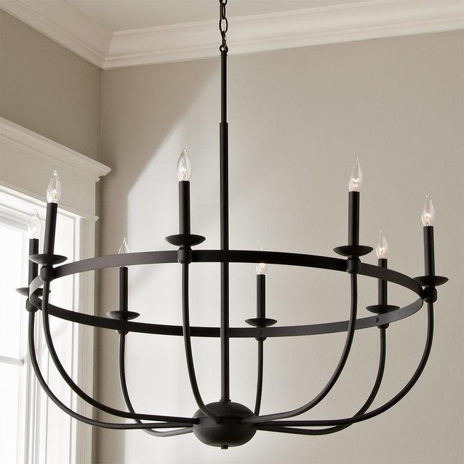 Simply Black Basket Chandelier - 8 light | Black iron chandelier .