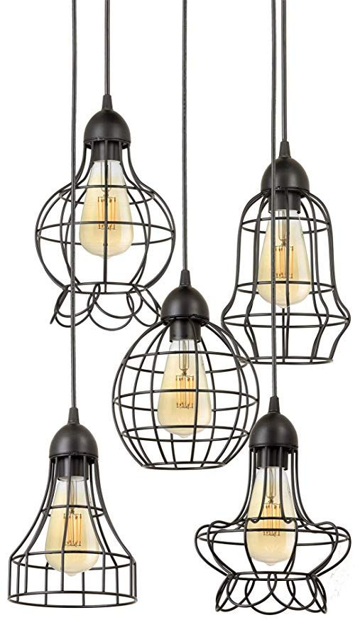 """Kira Home Wyatt 15"""" Modern Industrial 5-Light Cluster Pendant ."""