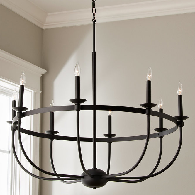 Simply Black Basket Chandelier - 8 light | Wrought iron .