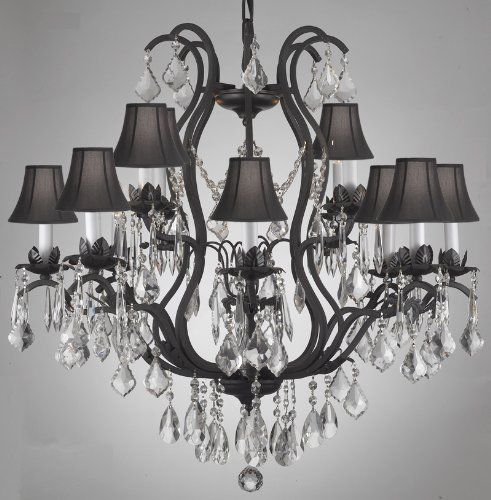 "WROUGHT IRON CRYSTAL CHANDELIER LIGHTING WITH BLACK SHADES H30"" x ."